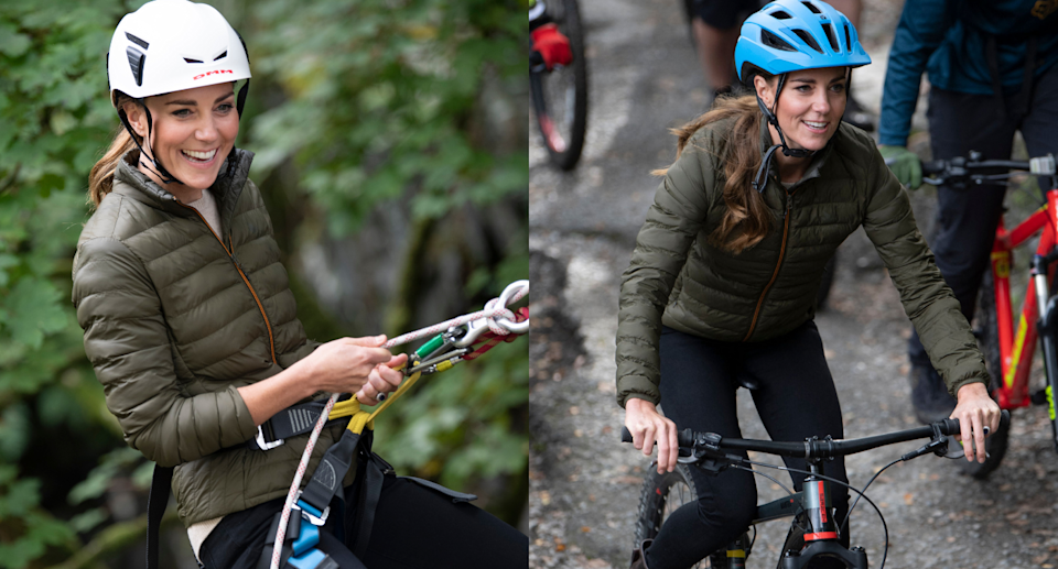 Kate Middleton was all smiles while enjoying the outdoors in a green puffer jacket (Photos by ANDY STENNING/POOL/AFP via Getty Images)