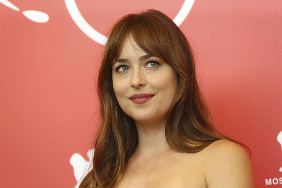 Actress Dakota Johnson poses for photographers at the photo call for the film 'Suspiria' at the 75th edition of the Venice Film Festival in Venice, Italy, Saturday, Sept. 1, 2018. (Photo by Joel C Ryan/Invision/AP)