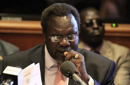 South Sudan's rebel leader Machar addresses a news conference in Ethiopia's capital Addis Ababa