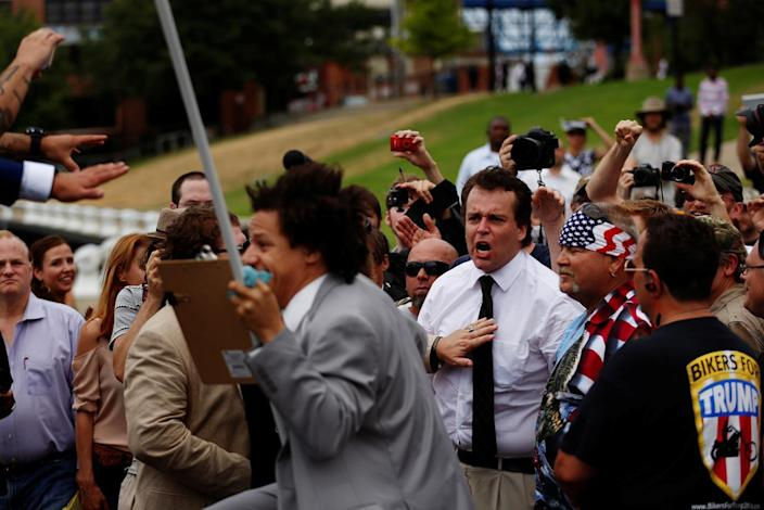 <p>A Trump supporter screams at Eric Andre during a support rally near the Republican National Convention in Cleveland on July 18, 2016. (Photo: Lucas Jackson/Reuters)</p>