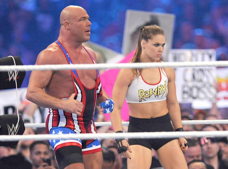NEW ORLEANS, LA - APRIL 8: Ronda Rousey and Kurt Angle at WWE Wrestlemania 34 at the Mercedes-Benz Superdome in New Orleans, Louisiana on April 8, 2018. Credit: George Napolitano/MediaPunch/IPX