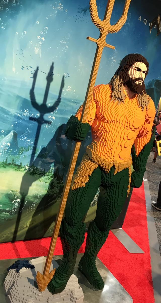 Lego's Comic-Con booth featured a life-sized brick version of Momoa in the hero's classic suit, complete with trident. (Photo: Marcus Errico/Yahoo Entertainment)