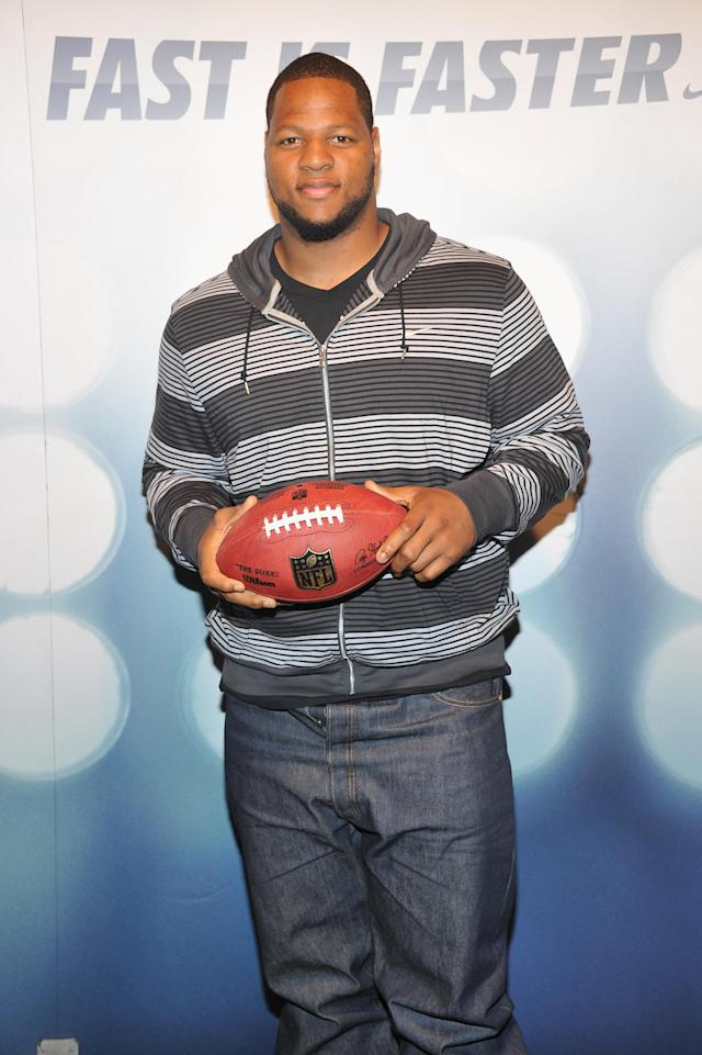 NEW YORK, NY - APRIL 26: Detroit Lions Ndamukong Suh attends the Launch Of The New NFL Uniforms at NikeTown on April 26, 2012 in New York City. (Photo by Theo Wargo/Getty Images for Nike)