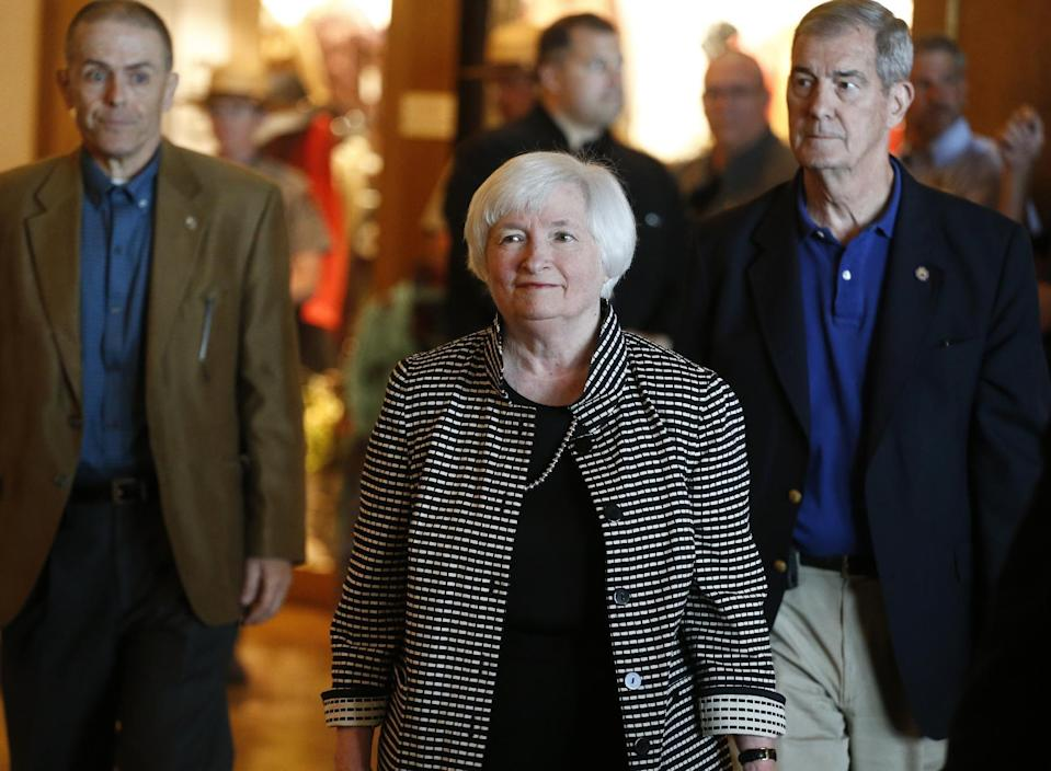 Janet Yellen arrives at the 2016 annual meeting of central bankers in Jackson Hole, Wyoming. AP Photo/Brennan Linsley