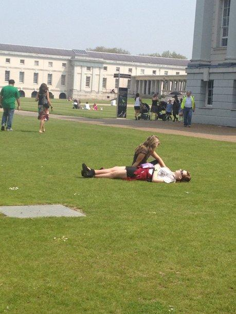 A spot of lunchtime sunbathing at the Royal Maritime Museum in Greenwich. Photo credit: Gaby Leslie, Y! Reporter