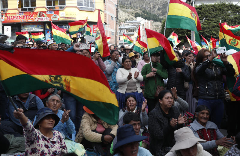 "Anti-government protesters against the reelection of President Evo Morales, attend a rally with the coca leaf growers in La Paz, Bolivia, Thursday, Nov. 7, 2019. The United Nations on Thursday urged Bolivia's government and opposition to restore ""dialogue and peace"" after a third person was killed in street clashes that erupted after a disputed presidential election on Oct. 20. (AP Photo/Juan Karita)"