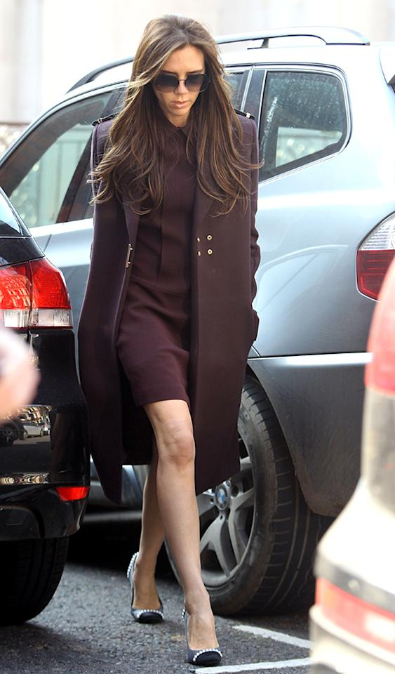 Victoria Beckham was also recently photographed out and about in London. While we aren't feeling her long locks (bring back the asymmetrical bob!), we love her sense of style and own designs, such as this maroon mini and matching coat. Chanel kicks were the icing on the cake. (3/5/2013)