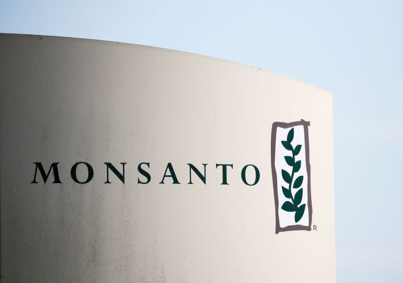 The logo of Monsanto is seen at the Monsanto factory in Peyrehorade