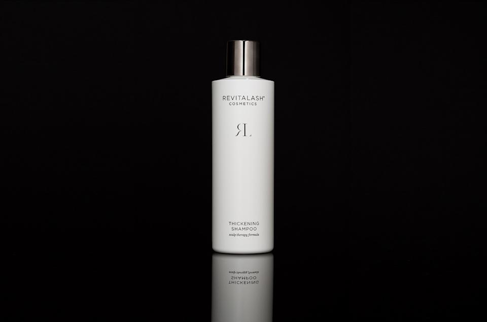 """<h3>RevitaLash Thickening Shampoo<br></h3><br>The brand famous for boosting the look of lashes now makes shampoo that aims to do the same for hair. The formula includes willow bark to help manage oil control (and therefore, the clogging and irritation of hair follicles) and flax protein, which is """"thought to feed the follicle and improve hair growth,"""" says Yates.<br><br><strong>RevitaLash</strong> Thickening Shampoo, $, available at <a href=""""https://go.skimresources.com/?id=30283X879131&url=https%3A%2F%2Fwww.dermstore.com%2Fproduct_Revitalash%2BThickening%2BShampoo_77569.htm"""" rel=""""nofollow noopener"""" target=""""_blank"""" data-ylk=""""slk:DermStore"""" class=""""link rapid-noclick-resp"""">DermStore</a>"""
