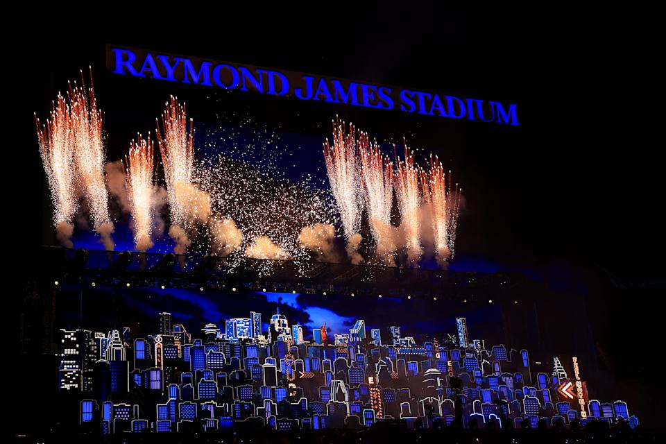 TAMPA, FLORIDA - FEBRUARY 07: A view of the stage as The Weeknd performs during the Pepsi Super Bowl LV Halftime Show at Raymond James Stadium on February 07, 2021 in Tampa, Florida. (Photo by Mike Ehrmann/Getty Images)
