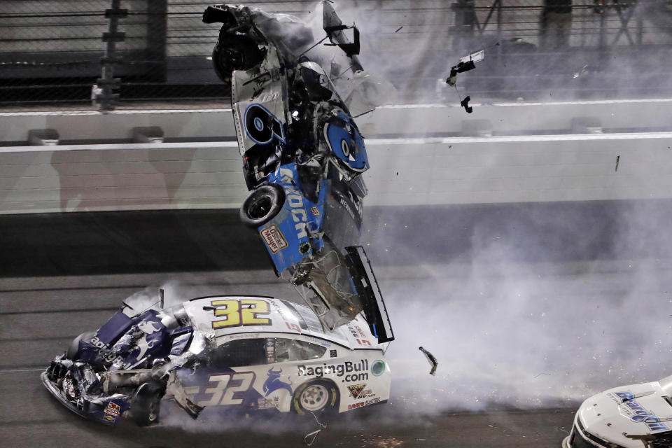 Ryan Newman's car was hit on the driver's side while it was upside down. (AP Photo/Chris O'Meara)