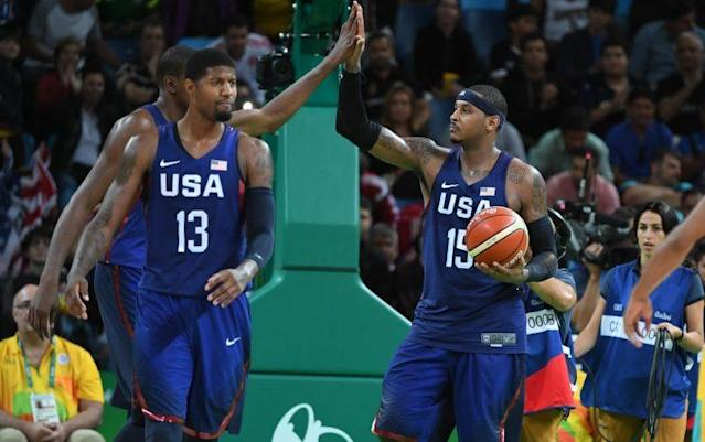 Carmelo Anthony has been great surrounded by other stars on Team USA. (Getty)