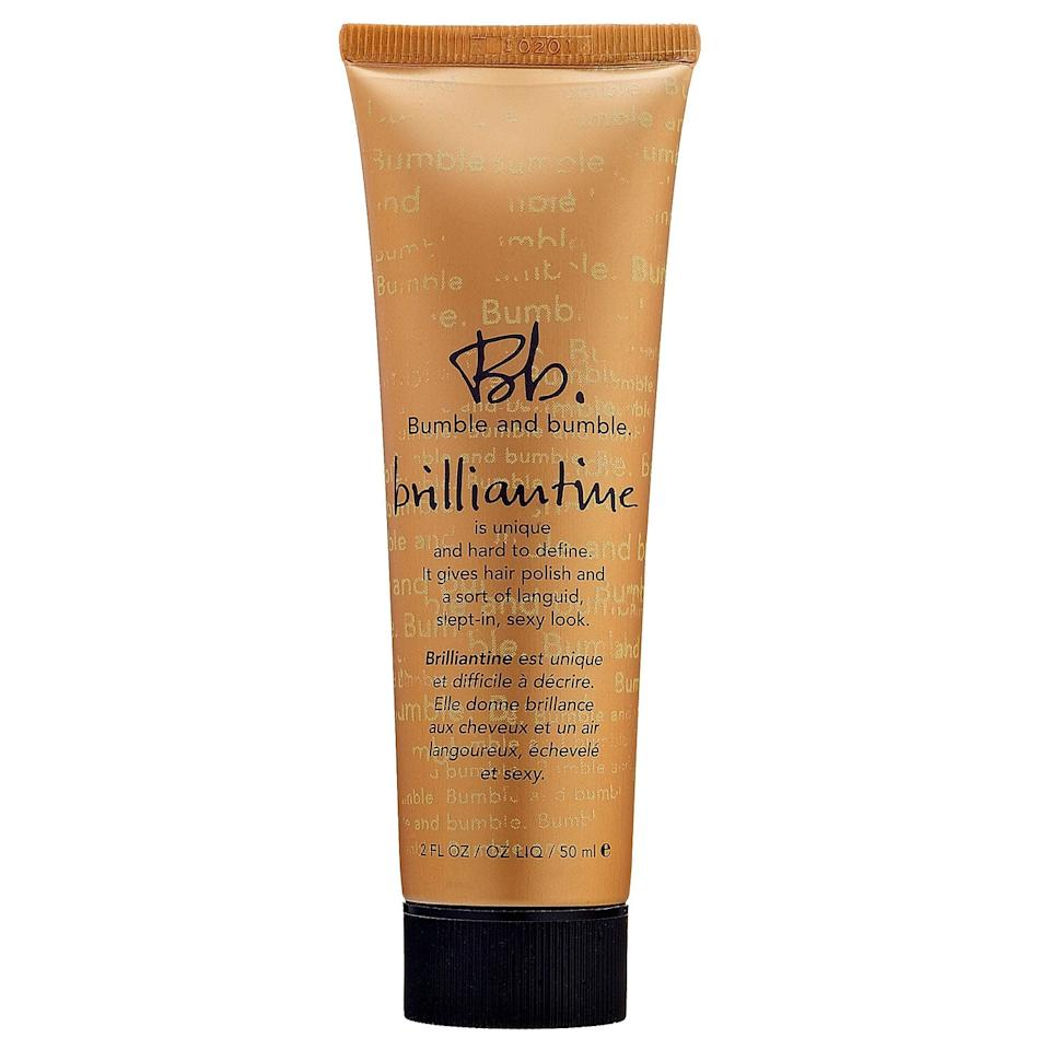 """<p><a href=""""https://www.popsugar.com/buy/Bumble-Bumble-Brilliantine-476217?p_name=Bumble%20and%20Bumble%20Brilliantine&retailer=sephora.com&pid=476217&price=25&evar1=bella%3Aus&evar9=46450234&evar98=https%3A%2F%2Fwww.popsugar.com%2Fbeauty%2Fphoto-gallery%2F46450234%2Fimage%2F46462018%2FBumble-Bumble-Brilliantine&list1=celebrity%20beauty%2Cbeauty%20products%2Cbeauty%20tips%2Cbeauty%20interview%2Cgeorgia%20fowler&prop13=mobile&pdata=1"""" rel=""""nofollow"""" data-shoppable-link=""""1"""" target=""""_blank"""" class=""""ga-track"""" data-ga-category=""""Related"""" data-ga-label=""""https://www.sephora.com/product/brilliantine-P280544"""" data-ga-action=""""In-Line Links"""">Bumble and Bumble Brilliantine</a> ($25)</p>"""