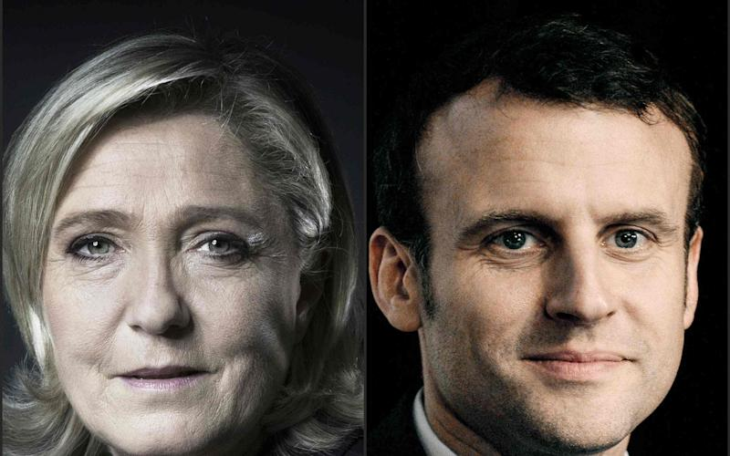 Marine Le Pen, Front National leader (L) and Emmanuel Macron (R), independent candidate with his En Marche! (On the Move) are the frontrunners to reach the final round of upcoming French presidential elections - Credit: JOEL SAGET/AFP