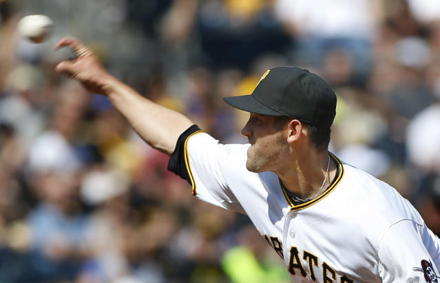 Pittsburgh Pirates starting pitcher Brandon Cumpton throws against the Los Angeles Dodgers in the first inning of the baseball game on Saturday, June 15, 2013, in Pittsburgh. It was Cumpton's first start in the major leagues. (AP Photo/Keith Srakocic)