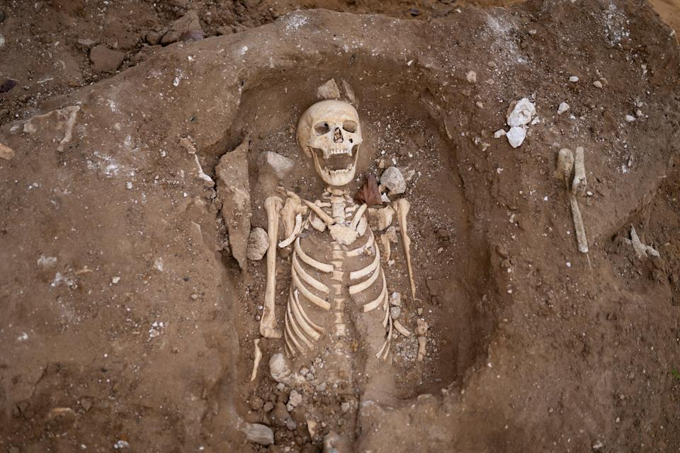 The remains of what is thought to be a 12th century monk on the North Green at Westminster Abbey, London (PA Wire)