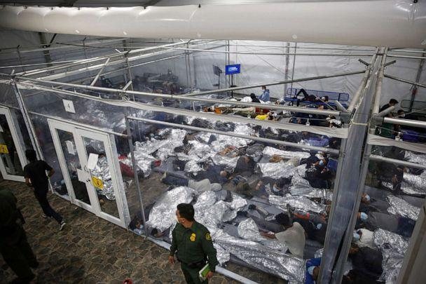 PHOTO: Children lie inside a pod at the U.S. Department of Homeland Security holding facility in Donna, Texas, on March 30, 2021. (Dario Lopez-Mills/Pool via AP)