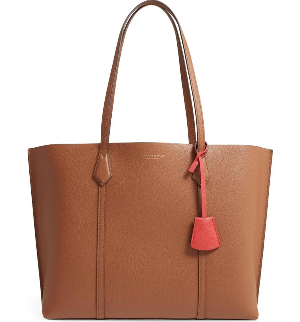 <p>This <span>Tory Burch Perry Tote</span> ($348) features a zip interior pocket that can hold your laptop. Plus, it comes in so many colors, and we love the contrasting colored interior.</p>