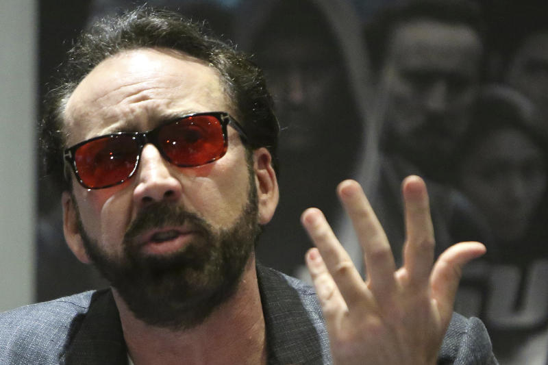 "Academy award winning actor Nicolas Cage speaks at a news conference for his new film Jiu Jitsu being filmed on the eastern Mediterranean island nation of Cyprus, in the Cypriot capital Nicosia on Saturday, June 29, 2019. Cage said the film which is a fusion of the action and science fiction genres which he has admired and grew up with drew him to the project. He said Cyprus had a ""good spirit"" for him which he said informs his performance. (AP Photo/Petros Karadjias)"