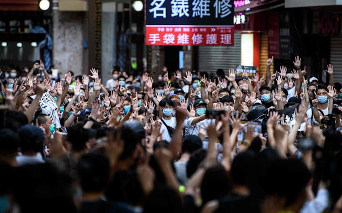 Rally against a new national security law in Hong Kong on July 1, 2020 - Anthony Wallace/AFP