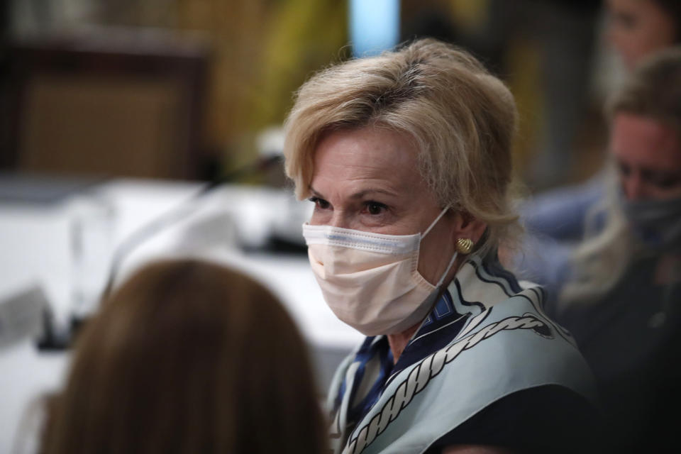 """Dr. Deborah Birx, White House coronavirus response coordinator arrives for a """"National Dialogue on Safely Reopening America's Schools,"""" event in the East Room of the White House, Tuesday, July 7, 2020, in Washington. (AP Photo/Alex Brandon)"""