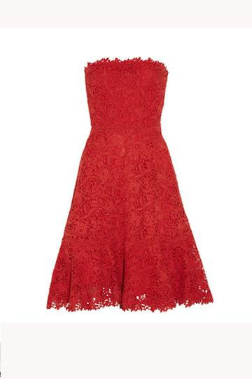 Wear the colour of love with this Valentino red lace strapless dress