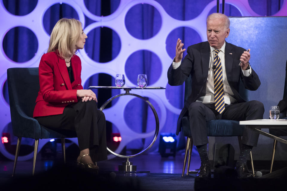 FILE - In this April 11, 2019, file photo University of Pennsylvania President Amy Gutmann and Former Vice President Joe Biden take part in a forum on the opioid epidemic, at the University of Pennsylvania in Philadelphia. President Joe Biden on Friday, July 2, 2021, announced he's nominating Gutmann to serve as U.S. ambassador to Germany. (AP Photo/Matt Rourke, File)