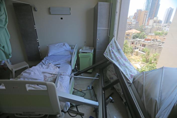 The damaged Wardieh hospital is pictured in the aftermath of Tuesday's blast that tore through Lebanon's capital. / Credit: Getty