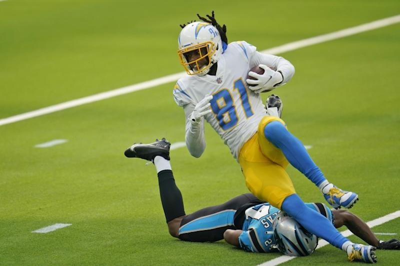 Los Angeles Chargers wide receiver Mike Williams (81) makes a catch against the Carolina Panthers.