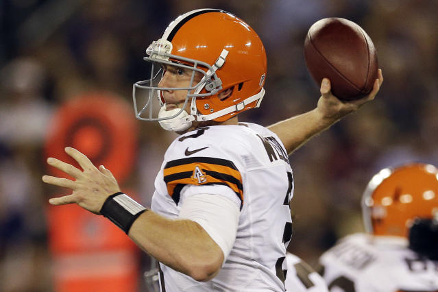Cleveland Browns quarterback Brandon Weeden passes during the first half of an NFL football game against the Baltimore Ravens in Baltimore, Thursday, Sept. 27, 2012. (AP Photo/Patrick Semansky)