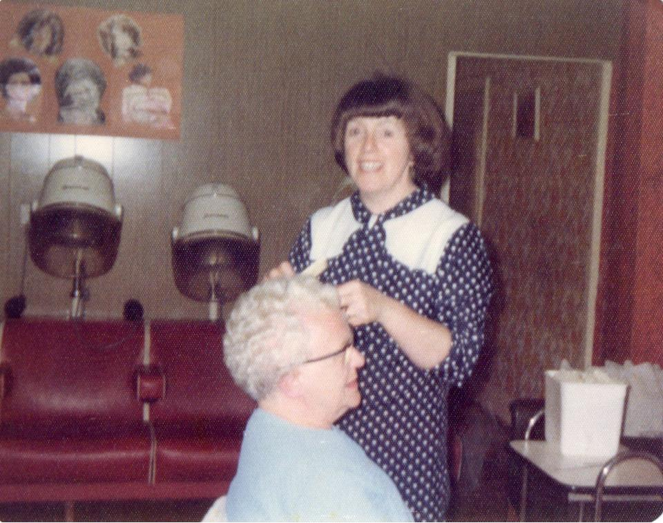 Margaret Sherlock with one of her first customers. (SWNS)
