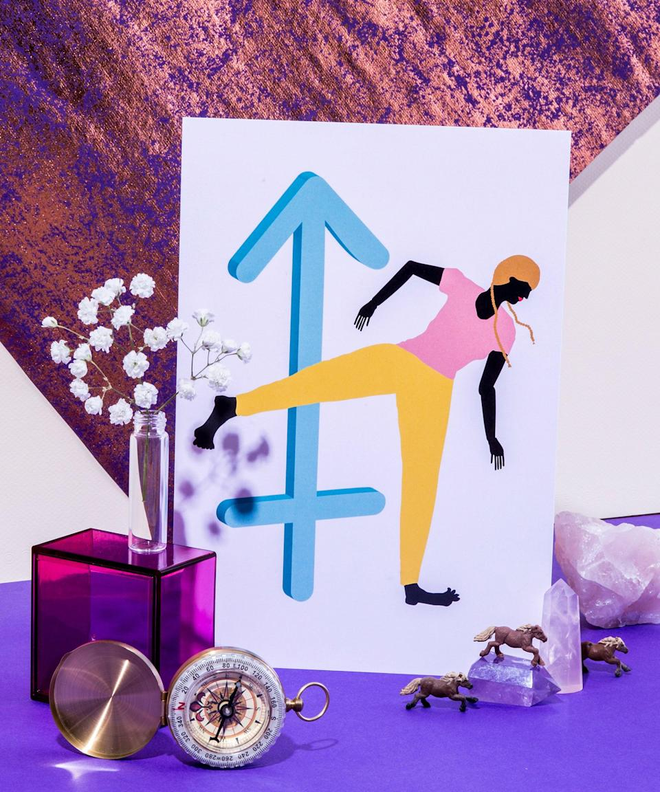 """<h2>Sagittarius</h2><br><a href=""""https://www.refinery29.com/en-us/sagittarius-zodiac-sign-traits-characteristics"""" rel=""""nofollow noopener"""" target=""""_blank"""" data-ylk=""""slk:Sags"""" class=""""link rapid-noclick-resp"""">Sags</a> are drawn to people who challenge them — in both their minds and hearts. """"They'll aim to provoke the mindset of the person they admire and adore,"""" Stardust says.<br> <br>You'll know they're into you because they won't hold back ever. """"Their minds won't be a mystery to you and they'll always be honest with you, even if the truth hurts,"""" she says.<span class=""""copyright"""">Photographed by Megan Madden, Illustration by Abbie Winters.</span>"""
