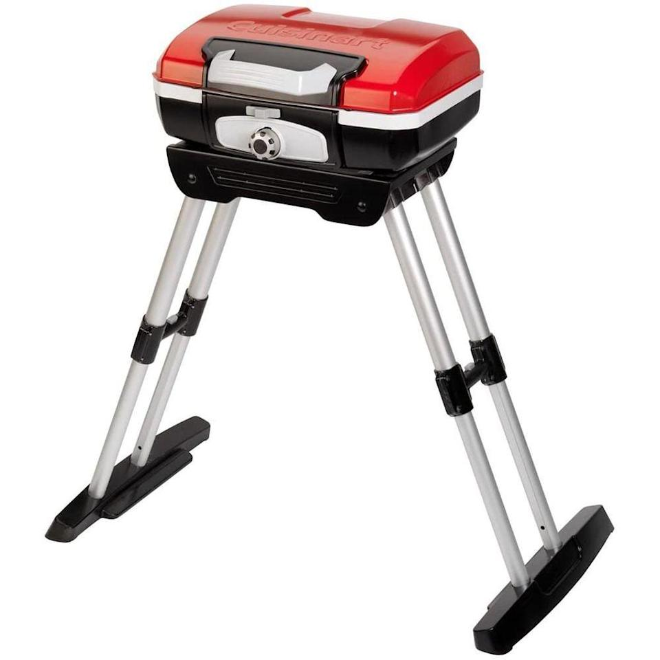 """<p><strong>Cuisinart</strong></p><p>amazon.com</p><p><strong>$132.59</strong></p><p><a href=""""https://www.amazon.com/dp/B004H4WW9W?tag=syn-yahoo-20&ascsubtag=%5Bartid%7C2089.g.36490432%5Bsrc%7Cyahoo-us"""" rel=""""nofollow noopener"""" target=""""_blank"""" data-ylk=""""slk:Shop Now"""" class=""""link rapid-noclick-resp"""">Shop Now</a></p><p>This Cuisinart portable gas grill offers 160 square inches of grilling space, which is enough to grill for a family of six. It's equipped with a 5,500 BTU stainless-steel burner and an even-heating porcelain-enameled grate.</p><p>This grill is small enough to use on any tabletop or deck, and its legs fold down, so you can carry and store it like a suitcase after it cools off. Consider pairing it with <a href=""""https://www.amazon.com/Cuisinart-CFGS-222-Along-Grill-Stand/dp/B079BCGVST/#customerReviews"""" rel=""""nofollow noopener"""" target=""""_blank"""" data-ylk=""""slk:Cuisinart's Take Along Grill Stand"""" class=""""link rapid-noclick-resp"""">Cuisinart's Take Along Grill Stand</a> which is also on sale!</p>"""