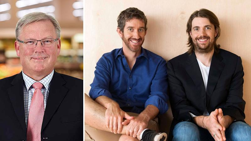 Coles chief executive Steven Cain on the left, and Atlassian's Mike Cannon-Brookes and Scott Farquhar.