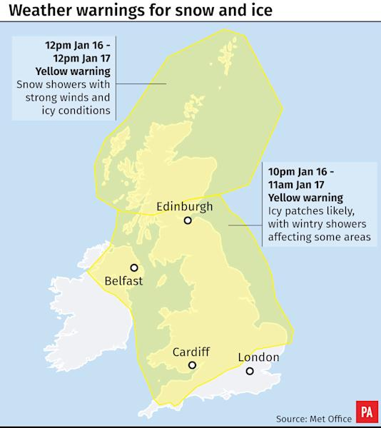 The Met Office has issued a yellow warning for snow and ice in Northern Scotland and for ice in the rest of the UK apart from South East England.