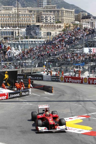Ferrari driver Fernando Alonso of Spain steers his car during the third practice session at the Monaco racetrack, in Monaco, Saturday, May 26, 2012. The Formula one race will be held on Sunday. (AP Photo/Luca Bruno)