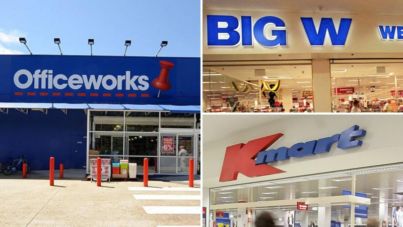 Pictured: Officeworks store front, Big W, Kmart. Images: Getty