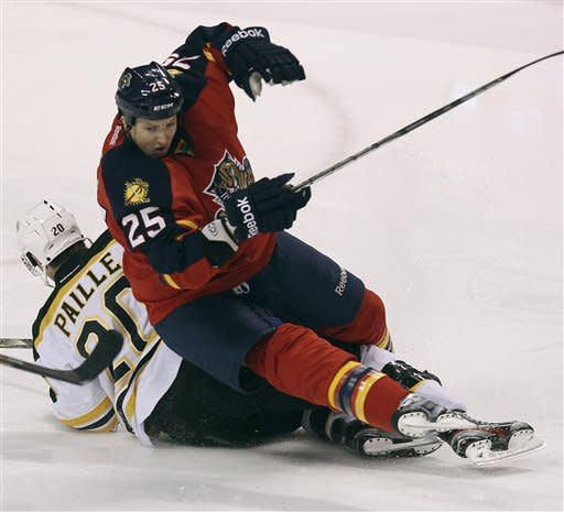 Boston Bruins' Daniel Paille (20) and Florida Panthers' Jerred Smithson (25) fall to the ice during the second period of an NHL hockey game in Sunrise, Fla., Thursday, March 15, 2012. (AP Photo/J Pat Carter)