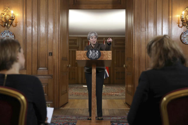 "<p>Britain's Prime Minister Theresa May during a press conference in 10 Downing Street, London, Saturday, April 14, 2018. British Prime Minister Theresa May says the need to act quickly and protect ""operational security"" led her to strike Syria without a prior vote in Parliament. (Photo: Simon Dawson/Pool Photo via AP) </p>"