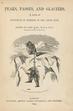 Journal cover with drawing of two men mountaineering.