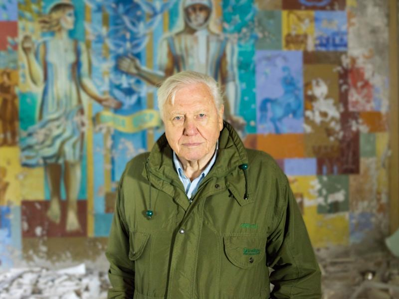 Sir David Attenborough pictured in Chernobyl, Ukraine while filming 'A Life On Our Planet' (Credit: Joe Fereday / Silverback)