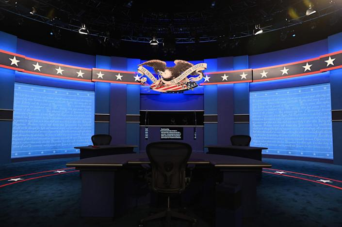 The stage is set ahead of the vice presidential debate in Kingsbury Hall of the University of Utah Oct. 7, 2020 in Salt Lake City.