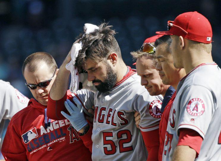 Matt Shoemaker was hit in the head with a line drive during Sunday's game. (AP Images/Elaine Thompson)