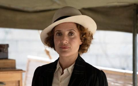 Lyndsey Marshal as Agatha Christie, sleuthing away abroad - Credit: Channel 5