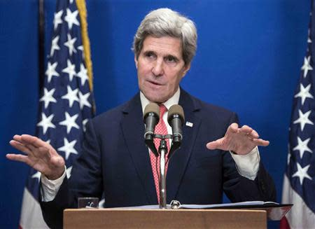 U.S. Secretary of State John Kerry speaks during a news conference at the David Citadel Hotel in Jerusalem