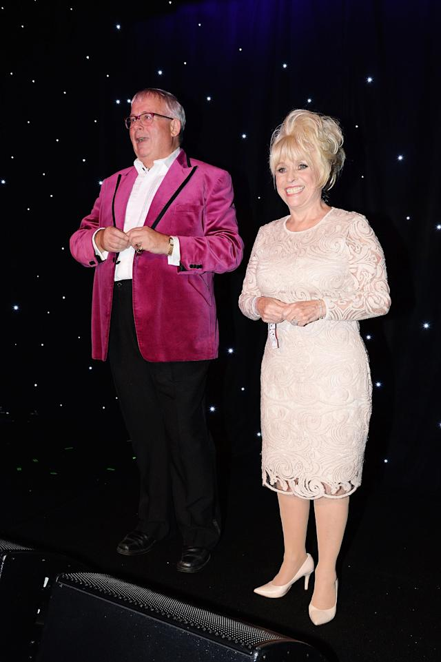 Barbara Windsor (R) and Christopher Biggins perform during the Amy Winehouse Foundation Gala at The Savoy Hotel on October 15, 2015 in London, England. (Photo by Dave J Hogan/Getty Images)