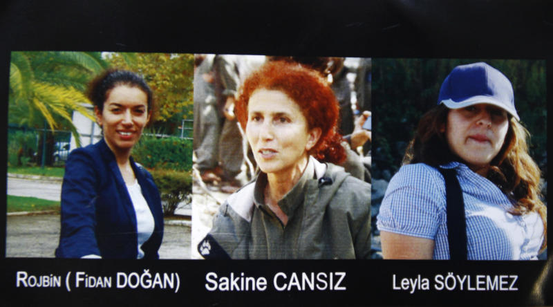 """This combination photo provided Thursday, Jan.10, 2013 by the Kurdish Cultural center in Paris shows the three victims """"executed"""" in Paris. Fidan Dogan, left, Sakine Cansiz, center, and Leyla Soylemez. Cansiz was a founding member of the Kurdistan Workers Party, or PKK. (AP Photo)"""