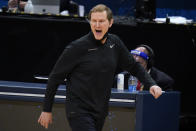 Oregon head coach Dana Altman reacts during the first half of a Sweet 16 game against Southern California in the NCAA men's college basketball tournament at Bankers Life Fieldhouse, Sunday, March 28, 2021, in Indianapolis. (AP Photo/Jeff Roberson)