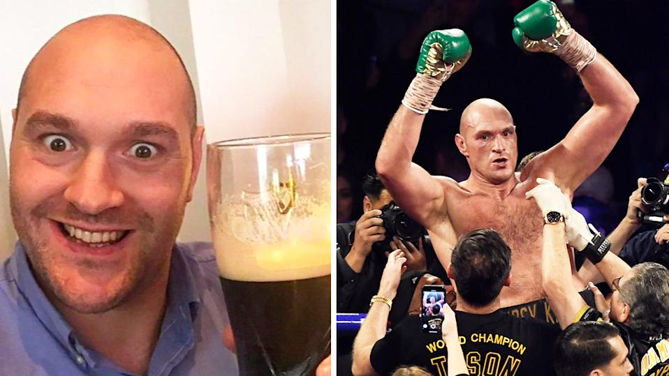 Tyson Fury (pictured right) celebrating his victory over Deontay Wilder and (pictured left) drinking a beer.