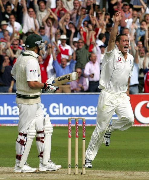 England's Simon Jones (R) celebrates aft
